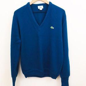 Izod Lacoste Blue V-Neck Sweater Vintage Medium